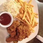 Chicken and fries with coleslaw at bungalows