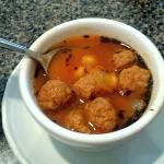 Tasty meatball and garbanzo bean soup
