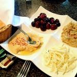 $12 sampler w/4 appetizer choices: I chose olives, baba ganoush (eggplant), Armenian string chee