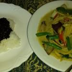 Seafood Curry with jasmine and black rice