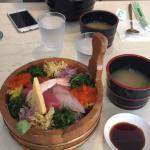 Mixed Sashimi Chirashi and in the background Teriyaki Chicken Don
