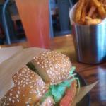 Strawberry Soda, Bison Burger, & Sweet Potato Fries