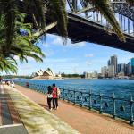 Stunning view under the Harbour Bridge across to the iconic Sydney Opera House
