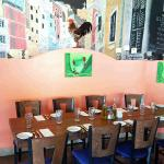 Dining table and mural
