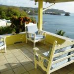 The porch off of the main lounge looking south towards Castries harbour entrance.