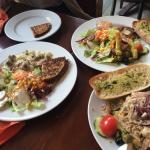 our three meals with garlic bread ( what where was the garlic...?!)