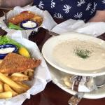 Seafood chowder and cod fish and chips