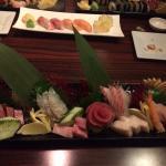 Sashimi Platter-Chef's Choice and Tuna Sushi in background