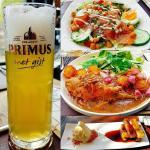 Primus met gist - slaatje met zalm - konijn - vanilleijs met knolselderstaafjes
