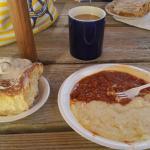 Sticky bun, hash & grits, coffee