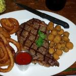 my 12oz ribeye with onion rings and fried okra.