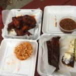 Smokin' Wings, BBQ Mac & Cheese/KC Ribs, Baked Beans, slaw, corn bread & pickle