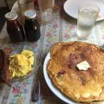 Short stack of Ollaberry pancakes scrambled eggs and bacon for $10.99