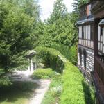 Looking out from a balcony towards one of the gardens