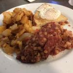 Cornbeef hash and poached eggs