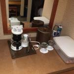 Odd that there was no outlet for the coffee maker! Had to move it into the bathroom!