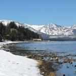 This photo was taken from Lake Tahoe about a 3 min walk from motel