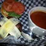 Twisted burger with Tomato Basil soup