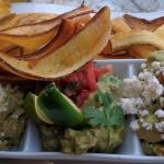 Guacamole sampler with plantain chips