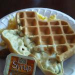 My Texas-shaped waffle from the free breakfast buffet.