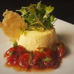 App Special, Parmesan Sformato(Savory Egg Custard), Herbed Tomato Jam, Micro Greens, Parmesan Cr