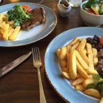 Delicious rump steak and chips