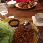 lettuce wraps and sweet and sour pork
