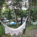 Área interna da pousada toda arborizada e com redes para descanso.