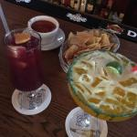 Sangria, Margarita with some chips & salsa