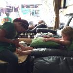 Our little girl getting her nails done by Eva.