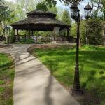 Large gazebo behind hotel, great for a wedding