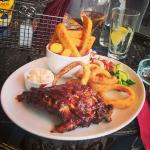 Excellent pork ribs,  with onion rings, fries, coleslaw ad salad. Great!