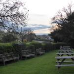 This is the view across the garden of the Horse and Coaches public house in the village