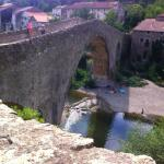 View of the old bridge,Olargues from the restaurant garden