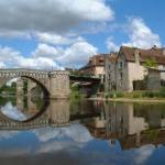 The Old Bridge from the banks of the river, at Montmorillon