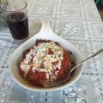 I ordered the Iskender Kebab. I enjoyed it over Turkish rice with some Hibiscus punch. This dish