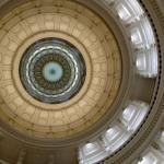 This photo is taken from the Texas Capitol rotunda looking up into the dome.