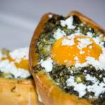Homemade dough with saute spinach,feta cheese and soft-boiled egg