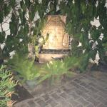 A waterflow garden structure right outside Neel Restaurant, Bengaluru