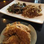 Mongolian beef and fried rice with the crispy fried chicken wings
