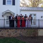 prom photos with The Manor House in the background