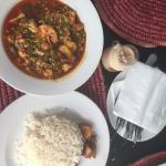 Seafood Okra with white rice and Dodo