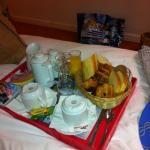 Breakfast in bed! Lovely.