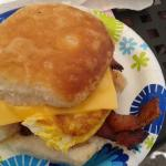egg, cheese and bacon biscuit