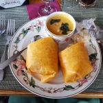 squash soup and yellow fin wrap