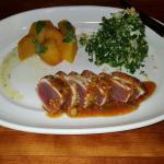 Seared Ahi Tuna with roasted beets and kale salad.