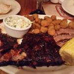 Ribs, Brisket, coleslaw, fried okra & corn