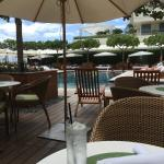 View of the pool from the table
