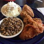 Fried chicken, purple hull peas and banana pudding.