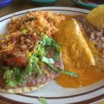 Cheese Enchilada with Bean Tostada and rice and beans
